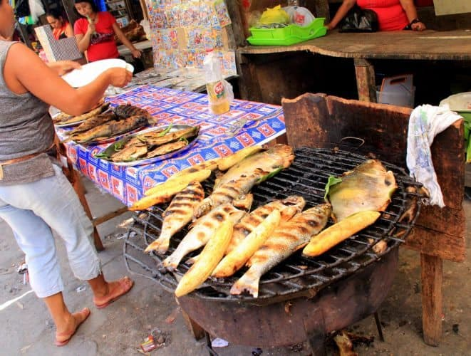 Fresh river fish, grilled up at the Belen market. Julia Bellan photos.