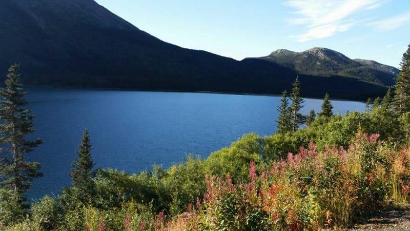 Skagway's mountainous landscape in Alaska.