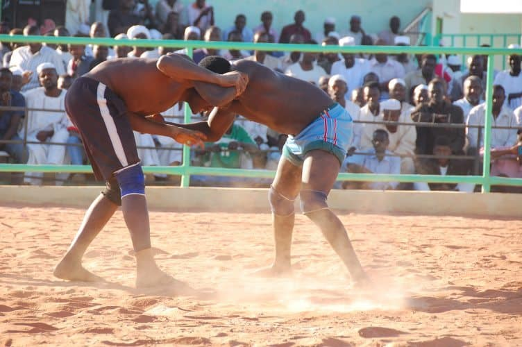 Nuba wrestling is a popular sport in Sudan.