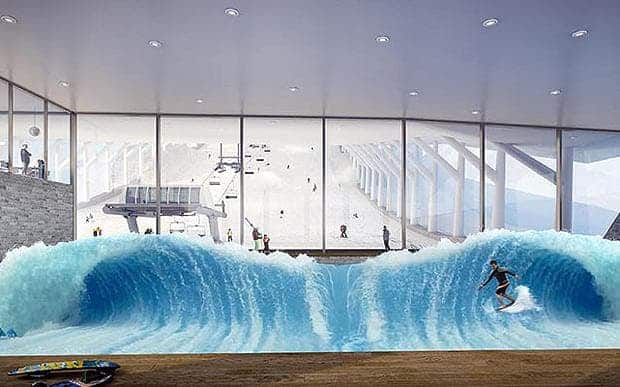 The projected indoor surf pool at the Tignes snow dome.