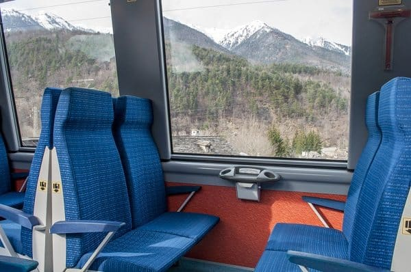 The typical second class coach provides comfort and incredible views.