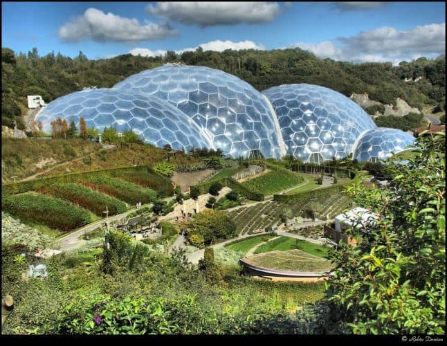 In Cornwall, England, the Eden Project is a series of biomes for different climates inside huge plastic bubbles. Eden Project photos.
