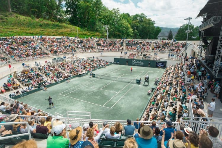 Center court at the Creekside tennis arena at the Greenbrier Resort.