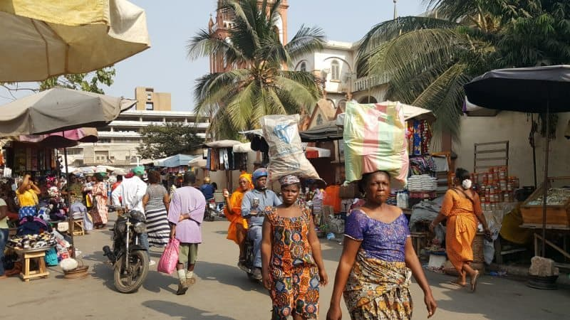 Women walking in the fetish market in Lome.