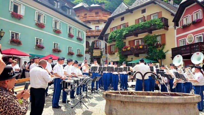Live music enlivens Hallstatt Square on a summer day in Austria.