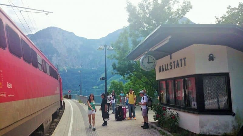 Arrival at the quaint single-tracked Hallstatt train station