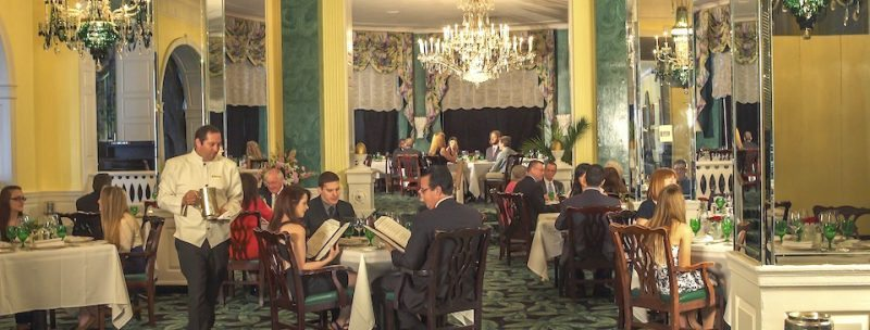 Jackets and ties and dresses are required in the Greenbrier's formal dining room.