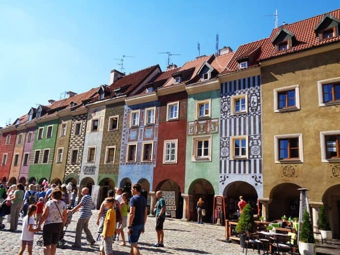 The Old Town with colorful houses in Poznan, Poland.