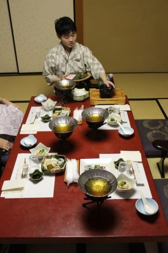 Yunoshimakan Onsen dinner service in room