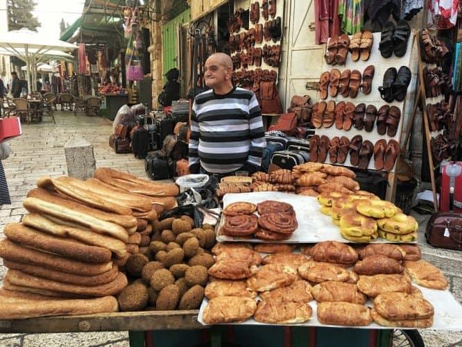 A bread seller in Jerusalem's souq. Claudia Tavani photos.