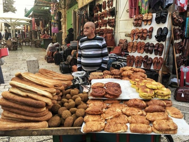 A bread seller in Jerusalem's souq. Claudia Tavani photos.