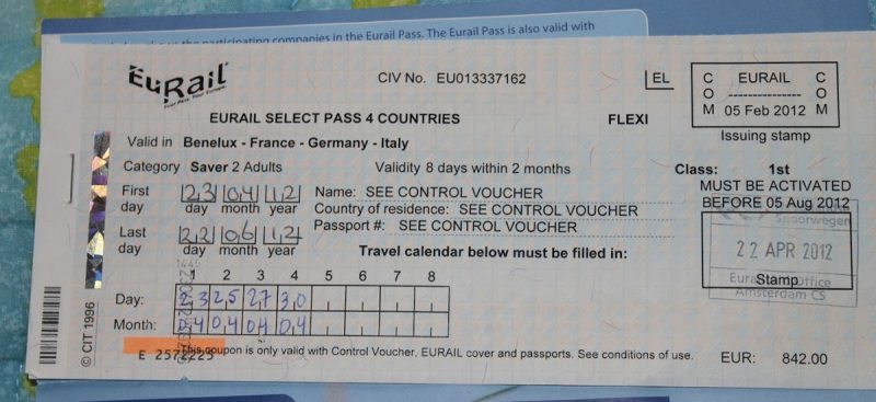 The Eurail Pass pictured above shows how you fill in the first and last days, as well as the travel calendar to fill in as you go.