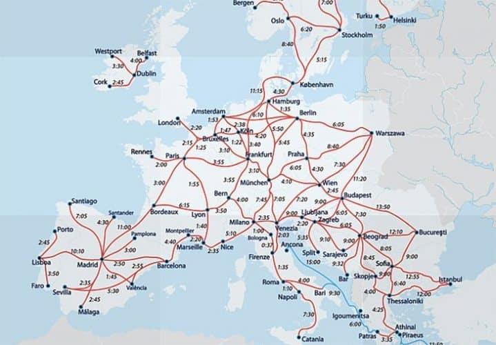 The red lines signify the routes between countries that participate in the Eurail pass.