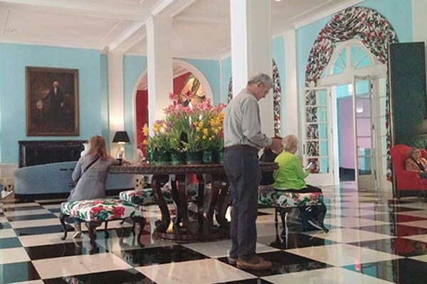 The main lobby at the Greenbrier