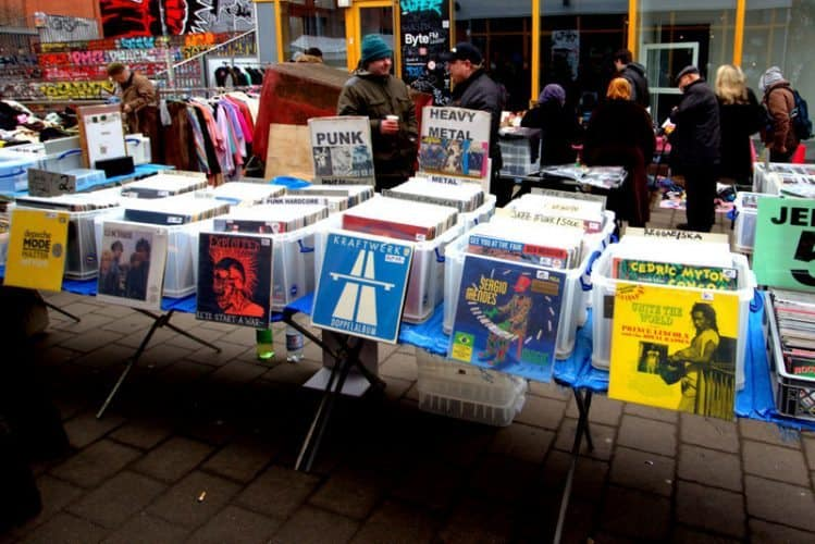 An outdoor record shop featuring vinyl records in Hamburg, Germany.