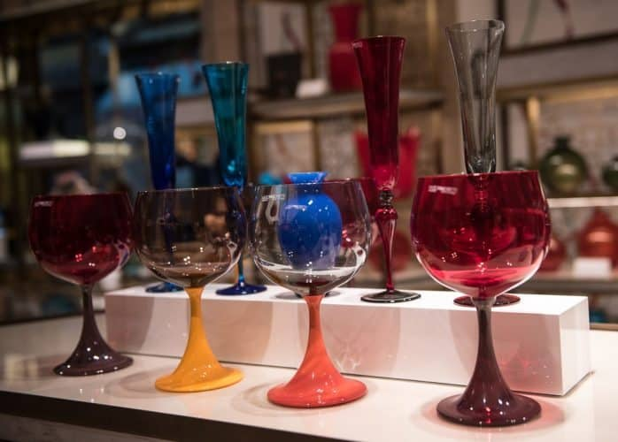 Beautiful wine glasses from the factory of NasonMoretti are just waiting to grace someone's table.