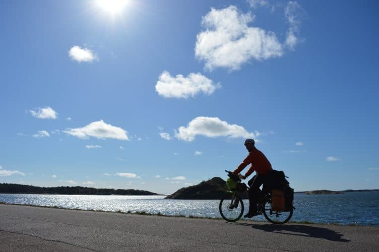 Cycling near the shore in Kattlegattleden Sweden. Laura Ricketts photos.