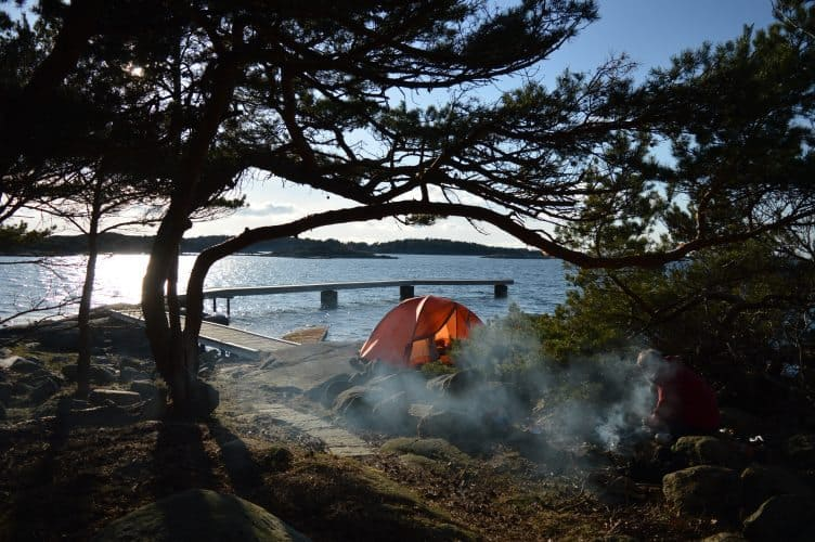 Camping on Sweden's coast.