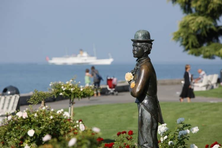 Charlie Chaplin Statue in Vevey, Switzerland. Christof Sonderegger photo.