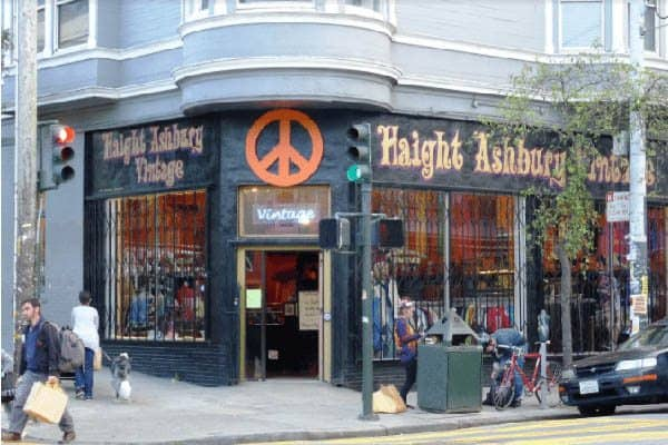 Haight-Ashbury is decorated with shops and cafes all with their uniquely painted storefronts.