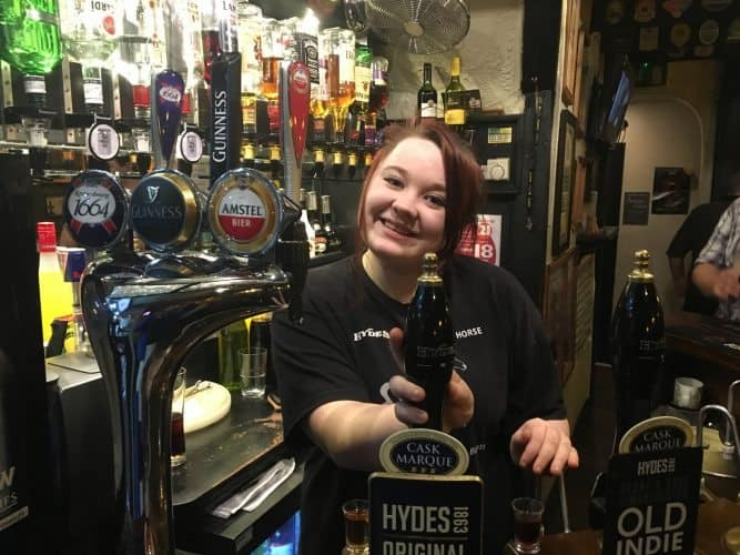 At the Grey Horse Inn, on Portland Street, you can enjoy cask ales by Hydes served by a friendly bartender named Jessica.