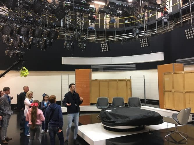 Touring a studio where a sports show is televised at BBC Studios in Salford Quays, Manchester.