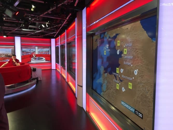 You can take a tour of the BBC studios in Salford Quays and see where they tape the news and live studio segments that are broadcast all over the world.