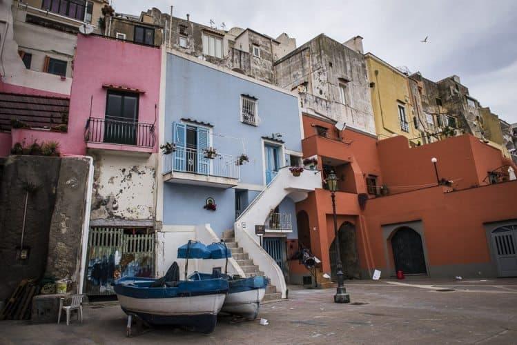 The apartments along Marina Corricella on Procida.