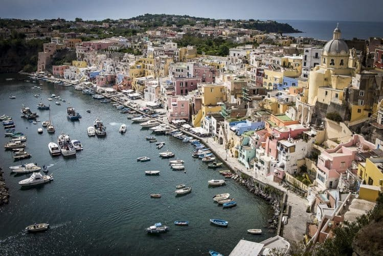 The harbor in Procida, a small island in the Bay of Naples, a perfect romantic getaway spot. Marina Pascucci photos.