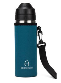 The Ecococoon Iconspeak stainless steel water bottle, with cuddler and handle.