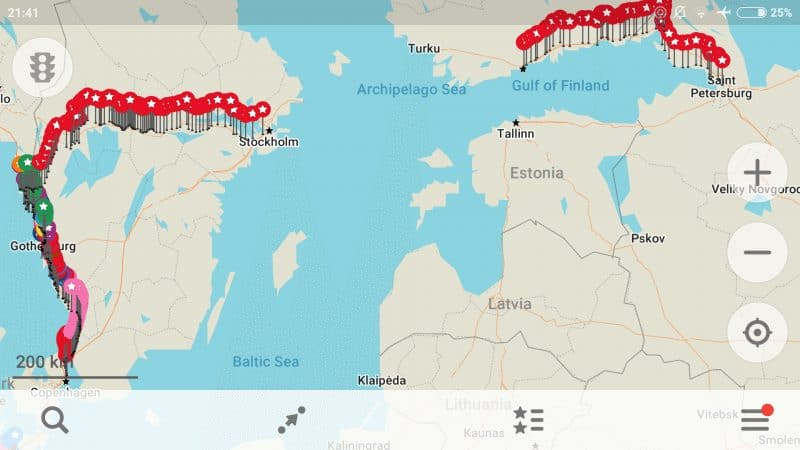 Map of the bike journey across Scandinavia.