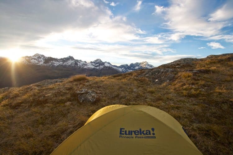 The Remarkables, New Zealand's mountain range, in the background of a perfect camping spot.