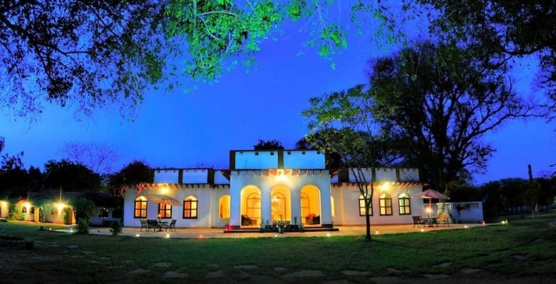The exterior of Chambal safari lodge in Utter Pradesh, India.