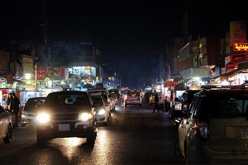 Iskan Street by night is busy, full of vendors selling all kinds of Kurdish foods.