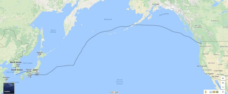 The ship's route from Busan Korea to Seattle Washington.