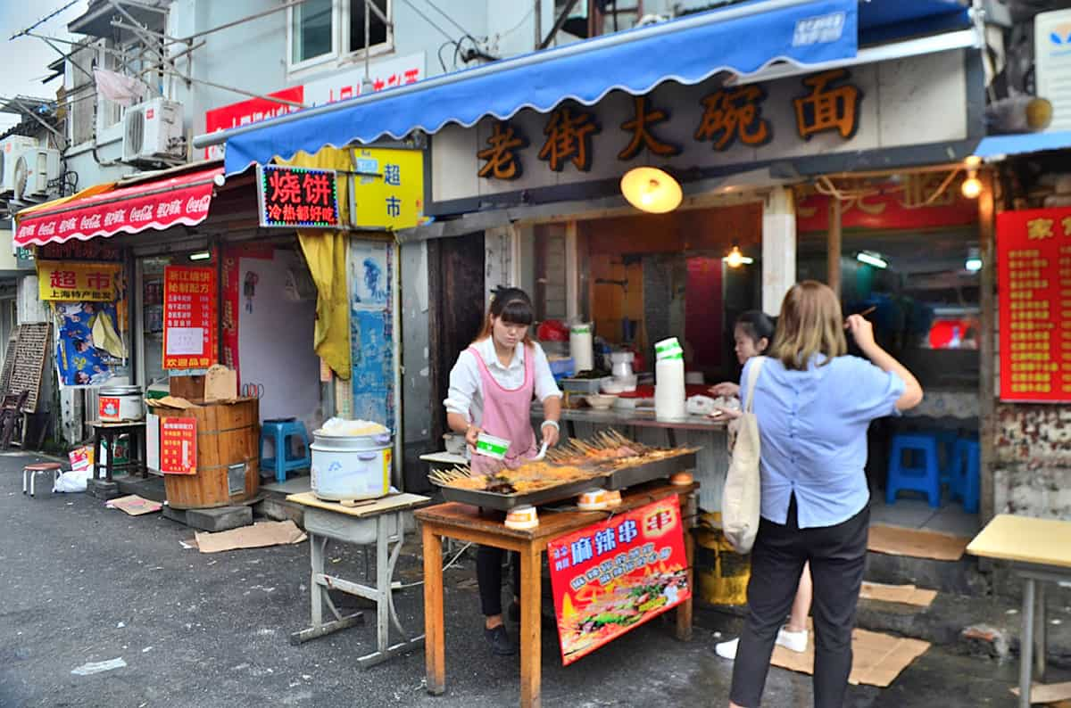 Street food on the backstreets of Shanghai.