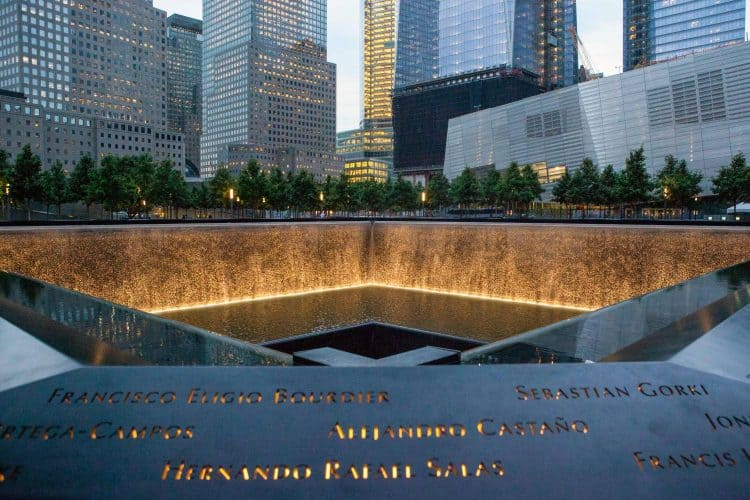 The 9/11 Memorial in New York City.