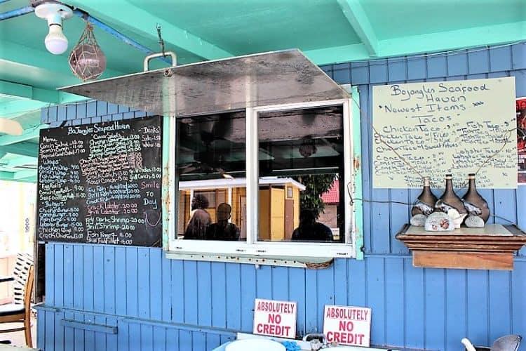 Local Bahamas food at Bojangles in Grand Bahama.