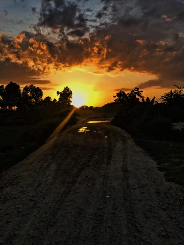 The sunset on the way back to the compound.