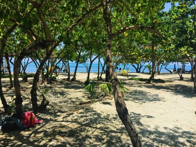 Hammocks at Le Boucanier beach resort.