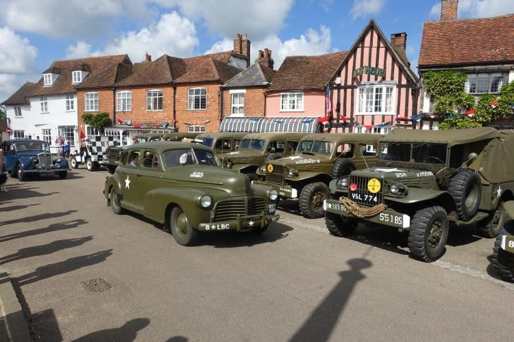 Lavenham with vintage Jeeps during Forties weekend. Visit East Anglia photo.