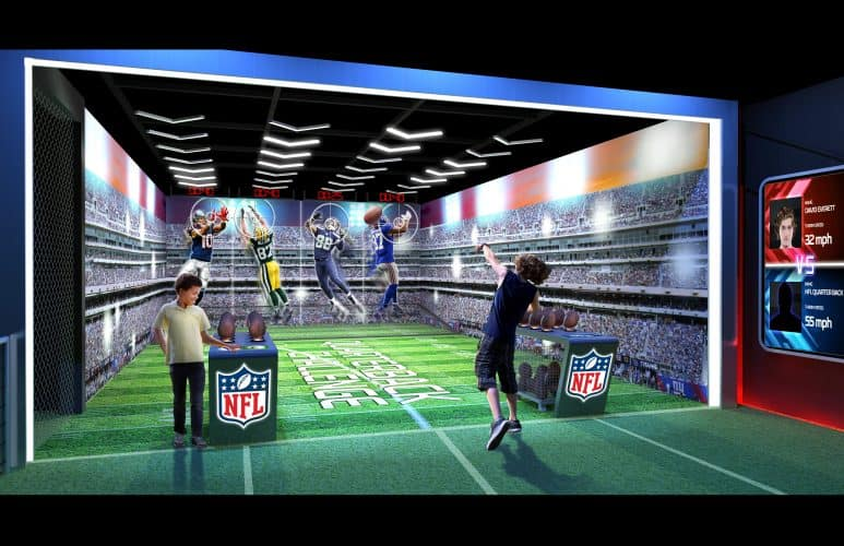 A sneak peek inside the NFL Experience in Times Square. Think you have what it takes to be a pro? Find out when it opens in November 2017. Photo by Forbes.