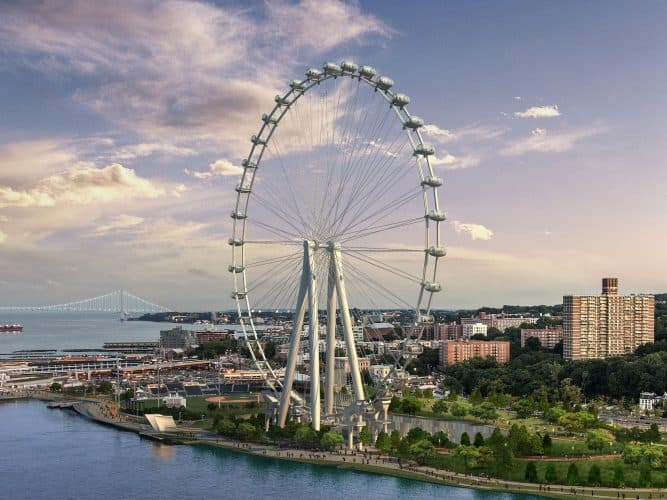 What New Yorkers will call the new Eiffel Tower. The New York Wheel and all its glory, expected to be finished June 2018. Photo by Crains New York Business.