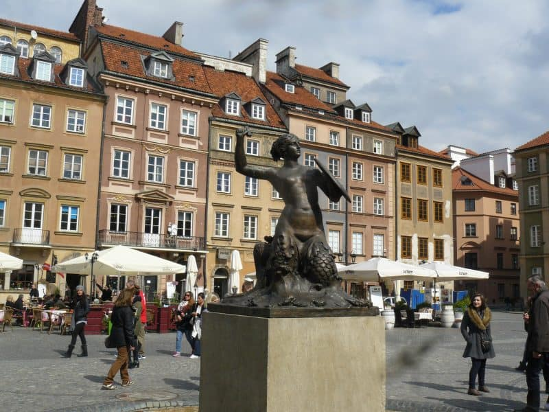 The armed mermaid is the emblem of Warsaw.
