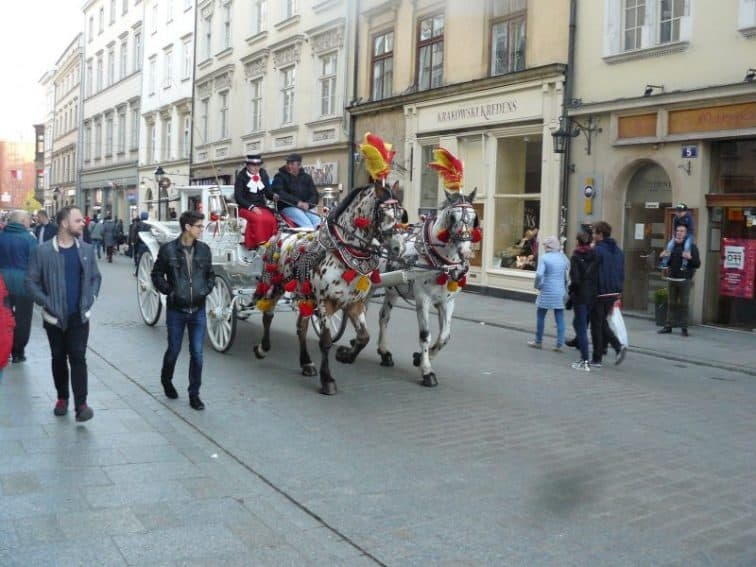 A horse-drawn carriage in the Old Town in Krakow