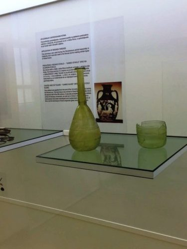 Roman glass in the museum, Zadir, Croatia.