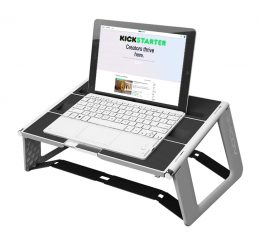 iMoov stand up desk with wireless keyboard.