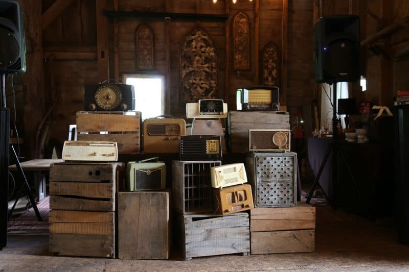 Vintage radio decor at Maple Shade Farm