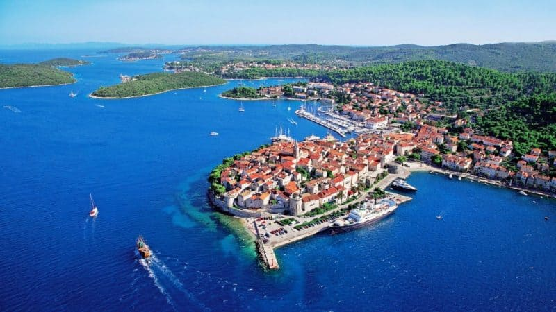 Aerial view of a harbor on the Dalmatia coast, Croatia.
