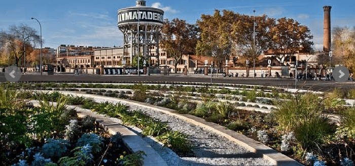 The old Madrid slaughterhouse, a set of neo-Mudejar style pavilions, built at the beginning of the 20th century on the banks of the Manzanares, is today a small city devoted to culture. tourism Madrid photo.